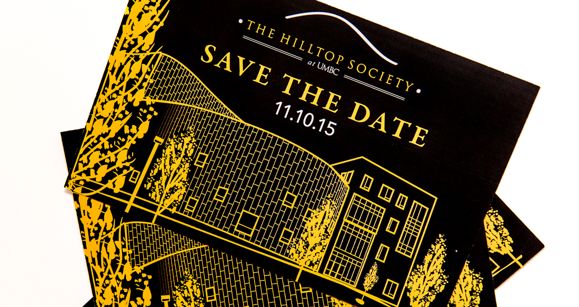 Close up of Hilltop Society Save the Date postcards