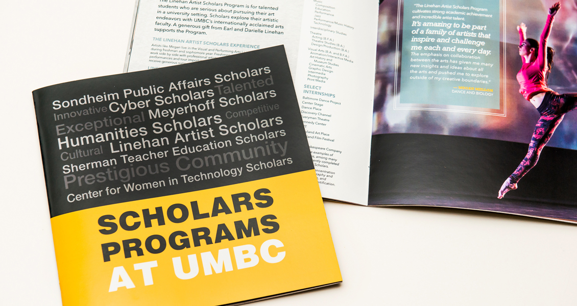 Cover and interior spread of the Scholars Booklet