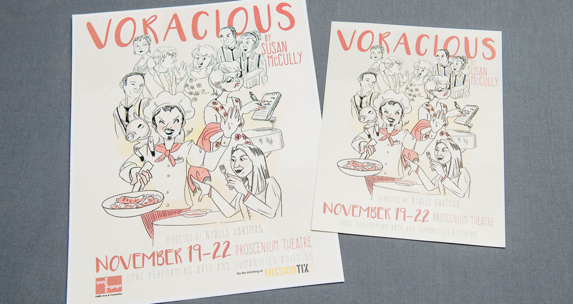 Voracious postcard and flyer